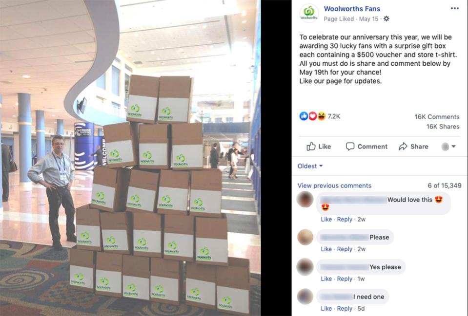 One of the apparent 'bogus' Woolies giveaways offered on an unauthorised Woolworths Fan Facebook page. Source: Woolworths Fans / Facebook