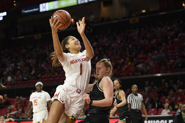 Maryland forward Shakira Austin (1) goes to the basket next to Wagner forward Emilija Krista Grava (24) during the first half of an NCAA college basketball game, Tuesday, Nov. 5, 2019, in College Park, Md. Grava was called for a foul on the play. (AP Photo/Nick Wass)