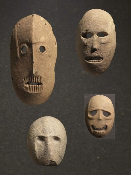 Holes at the edges of the stone artifact may have been threaded with hair or strung with cords to attach the mask to the face or hang it up on a building.