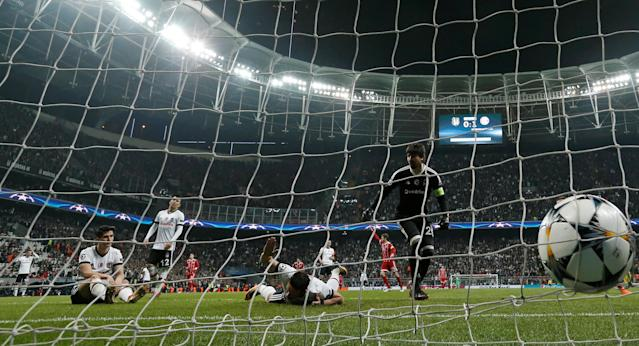 Soccer Football - Champions League Round of 16 Second Leg - Besiktas vs Bayern Munich - Vodafone Arena, Istanbul, Turkey - March 14, 2018 Besiktas' Gokhan Gonul looks dejected after scoring an own goal and the second goal for Bayern Munich REUTERS/Murad Sezer