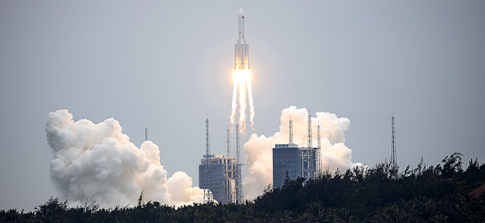 A Long March 5B rocket lifts off from the Wenchang Spacecraft Launch Site in Wenchang in southern China's Hainan Province.