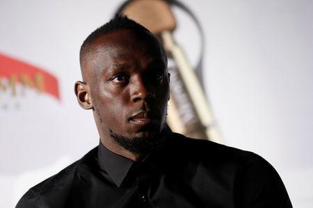 Retired sprinter Usain Bolt attends a news conference after a zero gravity conditions flight in a specially modified plane above Reims, France, September 12, 2018. REUTERS/Benoit Tessier/File Photo