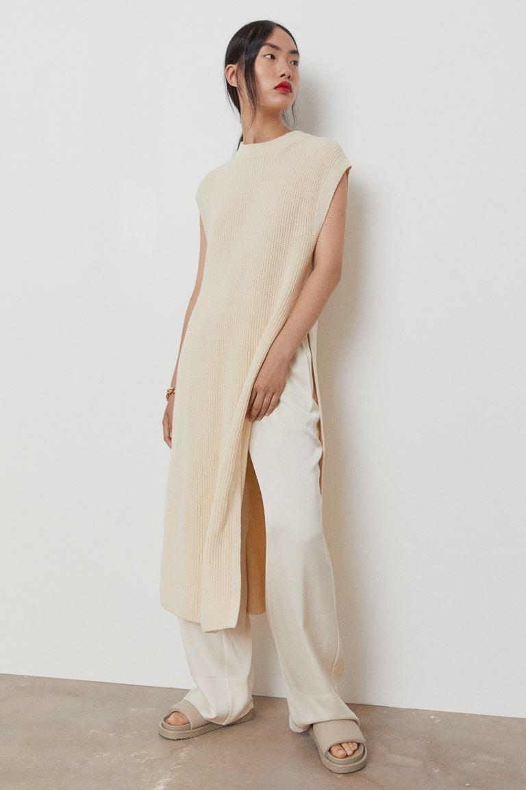 <p>This <span>H&amp;M Rib-knit Dress</span> ($20) has a super-high, dramatic slit. We like this dress over straight or wide leg pants.</p>