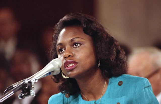 Oklahoma University law professor Anita Hill testifies before the Senate Judiciary Committee on Capitol Hill in Washington on Oct. 11, 1991. Hill's explosive allegations about sexual harassment by Supreme Court nominee Clarence Thomas included graphic language and were carried live by many media outlets around the nation. (Photo: Greg Gibson/AP)