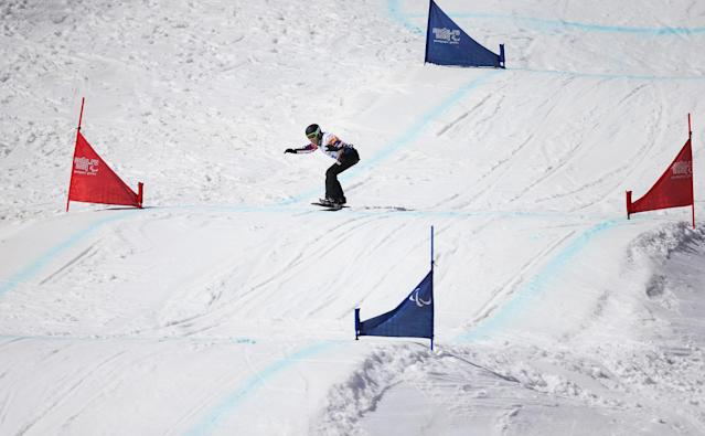 SOCHI, RUSSIA - MARCH 14: Amy Purdy of the United States competes during the Women's Para Snowboard Cross Standing on day seven of the Sochi 2014 Paralympic Winter Games at Rosa Khutor Alpine Center on March 14, 2014 in Sochi, Russia. (Photo by Ian Walton/Getty Images)