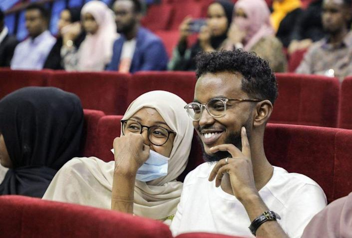 Viewers wait for the first screening of Somali films at The Somali National Theatre in Mogadishu.