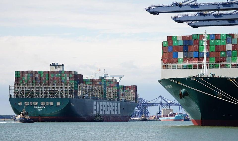 Global shipping was disrupted earlier this year when the Ever Given container ship got stuck in the Suez Canal (Aaron Chown/PA) (PA Wire)