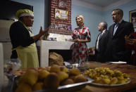 CORRECTS SPELLING OF ALCOCER - Ivanka Trump, center, President Donald Trump's daughter and White House adviser, listens to bakery owner Graciela Cristina Alcocer explain her operation in Jujuy, Argentina, Thursday, Sept. 5, 2019. Ivanka Trump is on the second stop of her South America trip aimed at promoting women's empowerment. (AP Photo/Gustavo Garello)