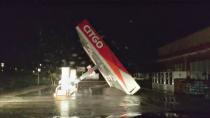A CITGO gas station roof is blown away by Tropical Storm Nicholas in Matagorda, Texas