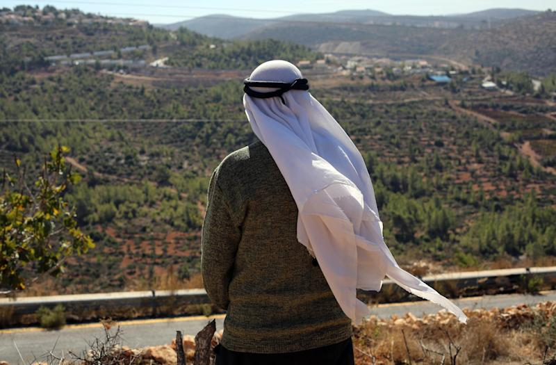 Palestinian farmer Abbas Yusef, 70, looks towards his olive trees, which are bearing their annual fruit, on land either side of an Israeli settlement in the northern occupied West Bank, on October 28, 2014 (AFP Photo/Abbas Momani)