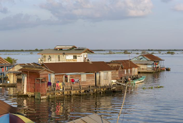 Floating houses in the village of Chong Khneas on Tonlé Sap lake.