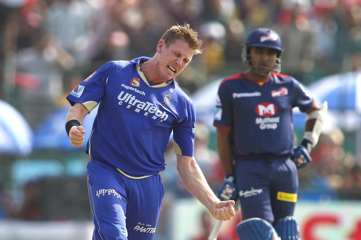 James Faulkner of Rajasthan Royals celebrates bowling Virender Sehwag of Delhi Daredevils during match 52 of the Pepsi Indian Premier League (IPL) 2013 between The Rajasthan Royals and the Delhi Daredevils held at the Sawai Mansingh Stadium in Jaipur on the 7th May 2013..Photo by Shaun Roy-IPL-SPORTZPICS  ..Use of this image is subject to the terms and conditions as outlined by the BCCI. These terms can be found by following this link:..https://ec.yimg.com/ec?url=http%3a%2f%2fwww.sportzpics.co.za%2fimage%2fI0000SoRagM2cIEc&t=1503128582&sig=1WO0TVPrWAYD.k4CqXYsmg--~D
