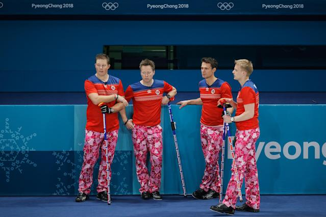 <p>Christoffer Svae, Torger Nergard, Thomas Ulsrud and Havard Vad Petersson of Norway compete in the Curling Men's Round Robin Session 1 held at Gangneung Curling Centre on February 14, 2018 in Gangneung, South Korea. (Photo by Dean Mouhtaropoulos/Getty Images) </p>