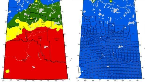These maps compare the fire weather index between May 18 (left) and May 25.  Fire weather index is considered a good indicator of overall fire danger. Blue is low, green is moderate, yellow is high and red is extreme.