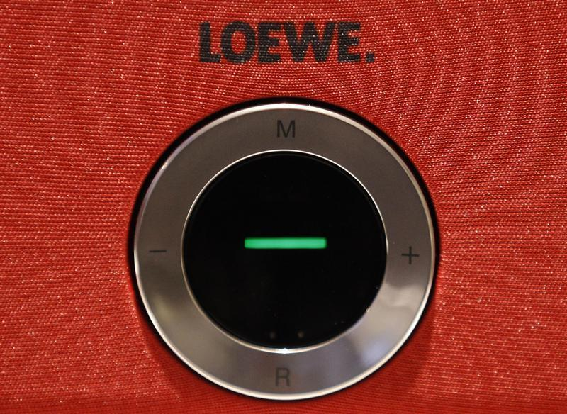 Control button of LOEWE television set is pictured at IFA consumer electronics fair in Berlin