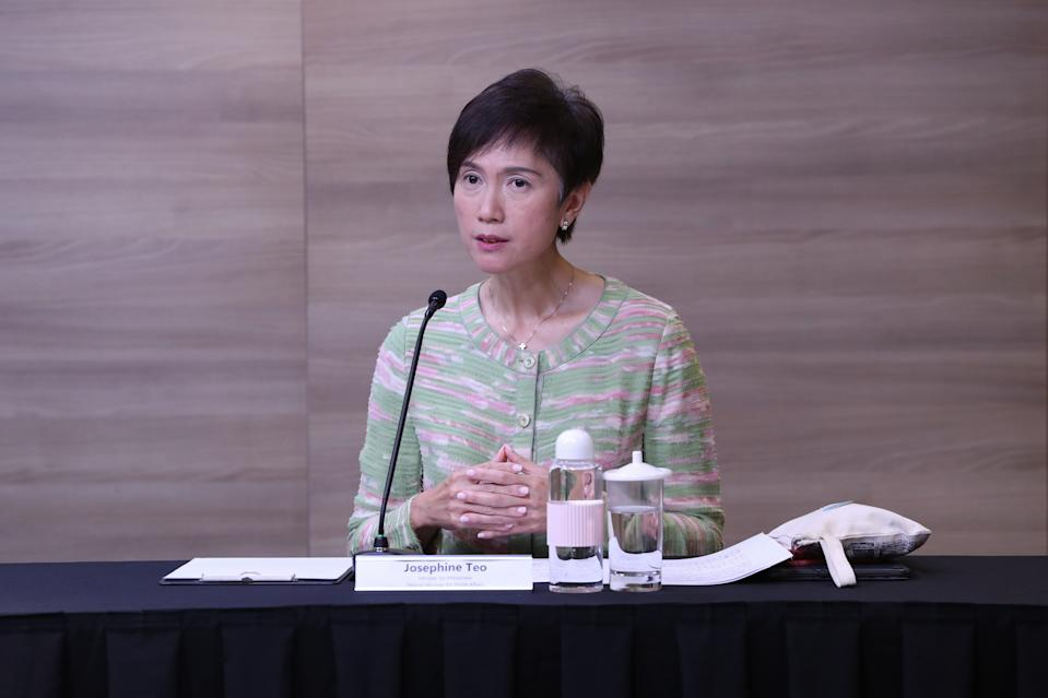 Manpower Minister Josephine Teo at the live virtual taskforce press conference on 1 May, 2020. (PHOTO: MCI)