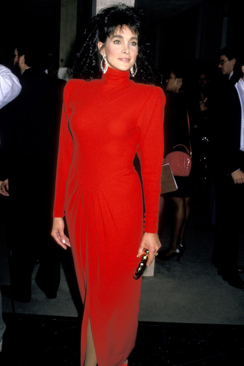 """<h2>1989</h2><br>The 1989 Golden Globes had some rather <em>interesting</em> fashion moments (it was the '80s after all). But this long-sleeved red gown on <em>Hotel</em> star Connie Selleca is just as chic now as it was back then. <br><br><em>Connie Sellecca in a red gown.</em><span class=""""copyright"""">Photo: Jim Smeal/Ron Galella Collection/Getty Images.</span>"""