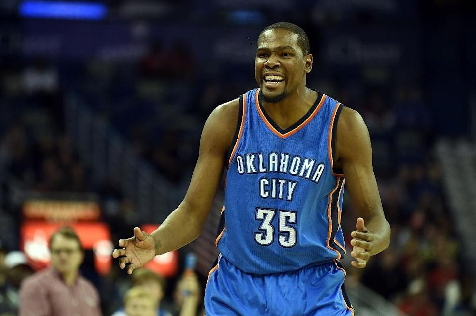 Reigning NBA Most Valuable Player Kevin Durant needs more surgery on his right foot and will miss the rest of the season, the Oklahoma City Thunder says (AFP Photo/Stacy Revere)
