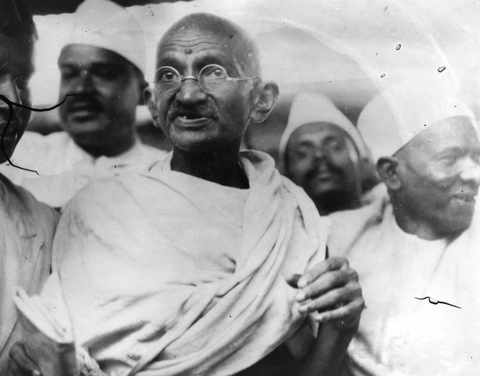 <p>File photo of Mahatma Gandhi (Mohandas Karamchand Gandhi, 1869 - 1948), Indian nationalist and spiritual leader, leading the Salt March in protest against the government monopoly on salt production</p> (Getty Images)