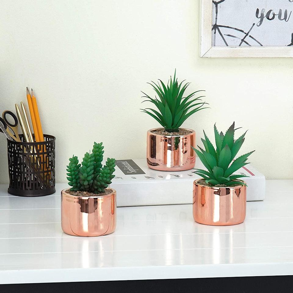 <p>If you lose rose gold, the <span>MyGift Set of 3 Faux Succulent Plants in Modern Rose Gold-Tone Ceramic Planters</span> ($25) is a match made in heaven.</p>