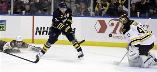 Buffalo Sabres' Thomas Vanek (26), of Austria, shoots the puck on Boston Bruins goalie Tuukka Rask, of Finland, under pressure from Bruins' Adam McQuaid (54) during the first period of an NHL hockey game in Buffalo, N.Y., Friday, Feb. 24, 2012. (AP Photo/David Duprey)