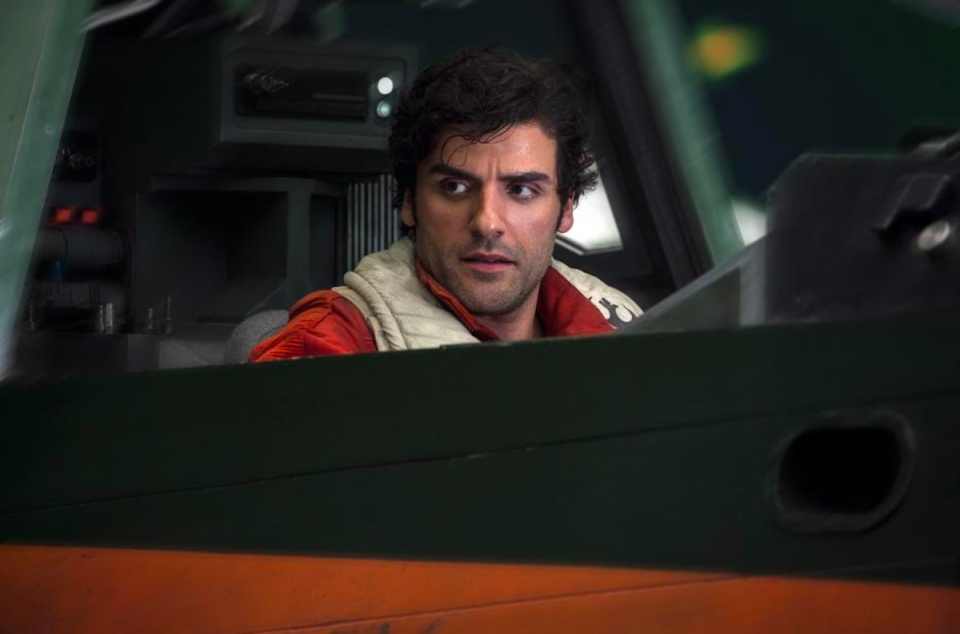 """<p>In <em>The Last Jedi, </em>star Resistance pilot Poe (Oscar Isaac) is still fighting, and he finds a new mentor: General Leia (Carrie Fisher). """"Poe is in some ways <a rel=""""nofollow noopener"""" href=""""http://ew.com/movies/2017/08/10/star-wars-last-jedi-leia-organa-carrie-fisher/"""" target=""""_blank"""" data-ylk=""""slk:a surrogate son for Leia"""" class=""""link rapid-noclick-resp"""">a surrogate son for Leia</a>,"""" Isaac told <em>EW.</em><br>(Credit: Lucasfilm) </p>"""