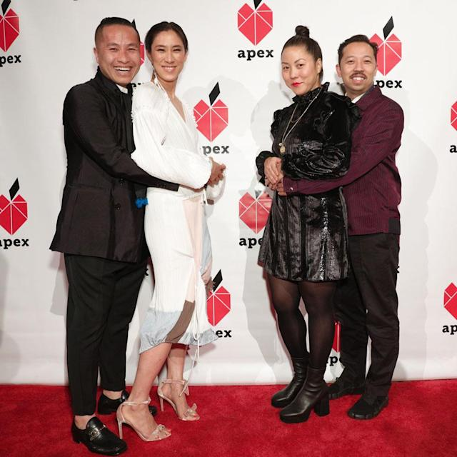 <p>Phillip Lim, Eva Chen, Carol Lim, and Humberto Leon in a prom pose on the red carpet at the 26th annual Apex for Youth gala. (Photo: BFA/Courtesy of Apex for Youth) </p>