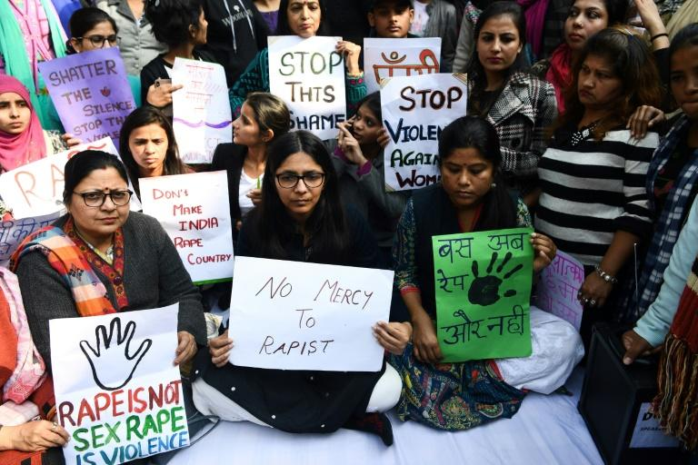 Hundreds of protesters gathered in New Delhi on December 3 2019, demanding speedier punishments for rapists