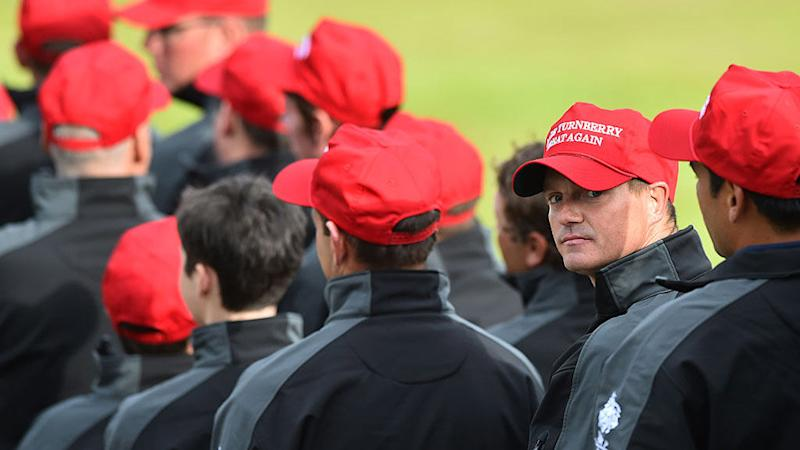 Turnberry Staff Wear Trump Campaign-Inspired Hats 4c1a6e605493