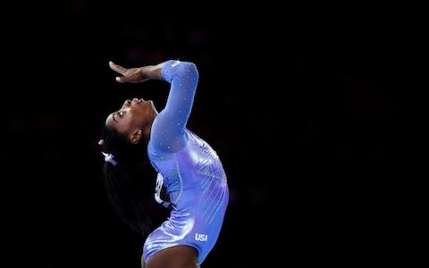 Simone Biles of USA competes on Floor during the Apparatus Finals - Credit: GETTY IMAGES