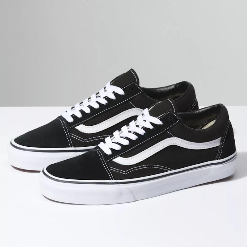 "These never go out of style, even if they are called ""Old Skool."" Get them for $80.00 at <a href=""https://www.vans.ca/shop/old-skool-black-white-en-ca?cm_mmc=GPF-_-google-_-merchantcenter-_-D3HY28&amp;gclid=EAIaIQobChMI7fbf77r05QIVI4VaBR0xqg5WEAQYASABEgJz2_D_BwE"" target=""_blank"" rel=""noopener noreferrer"">Vans.ca</a>."