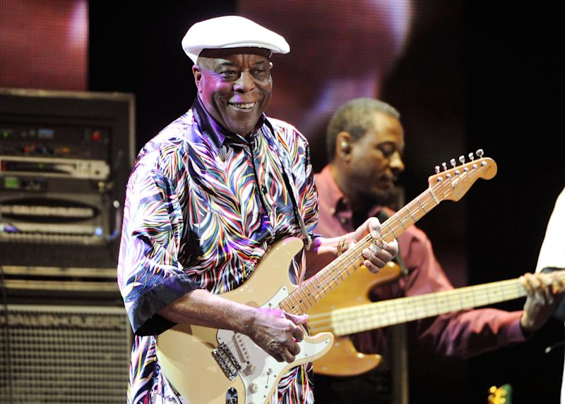 FILE - This April 12, 2013 file photo shows blues guitarist Buddy Guy performing at Eric Clapton's Crossroads Guitar Festival 2013 in New York. The Musicians Hall of Fame inducted 12 new members, Tuesday, Jan. 28, 2014, across the genres, including bluesman Buddy Guy, British rock guitarist Peter Frampton and pedal steel player and country singer Barbara Mandrell. (Photo by Evan Agostini/Invision/AP, File)