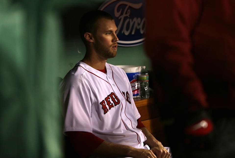 BOSTON - APRIL 27: Boston Red Sox relief pitcher Daniel Bard (#51) sits in the Sox dugout after being unable to throw a strike in the eighth inning.  The Boston Red Sox take on the Houston Astros at Fenway Park. (Photo by Barry Chin/The Boston Globe via Getty Images)