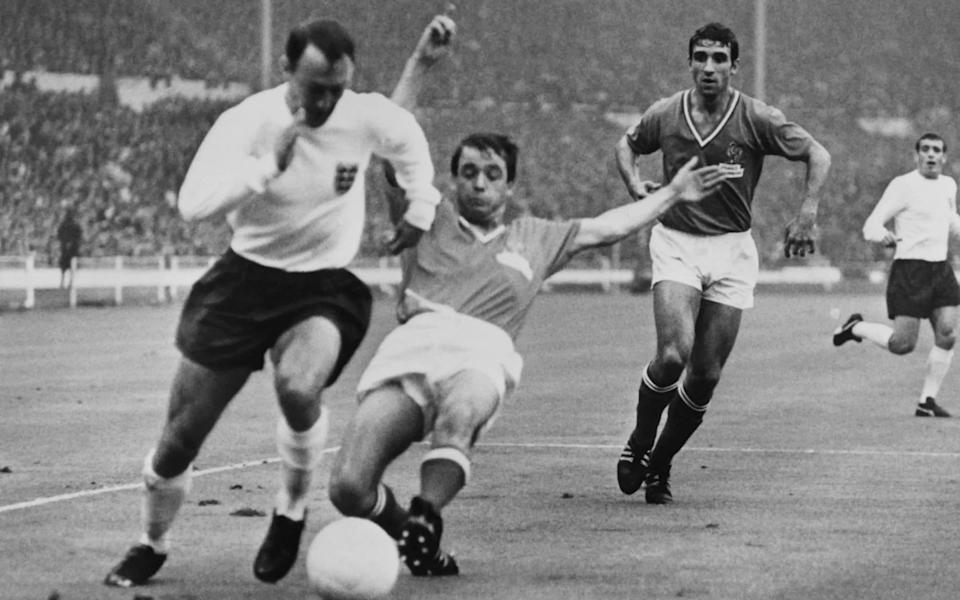 Greaves in action for England in 1966 - Getty Images