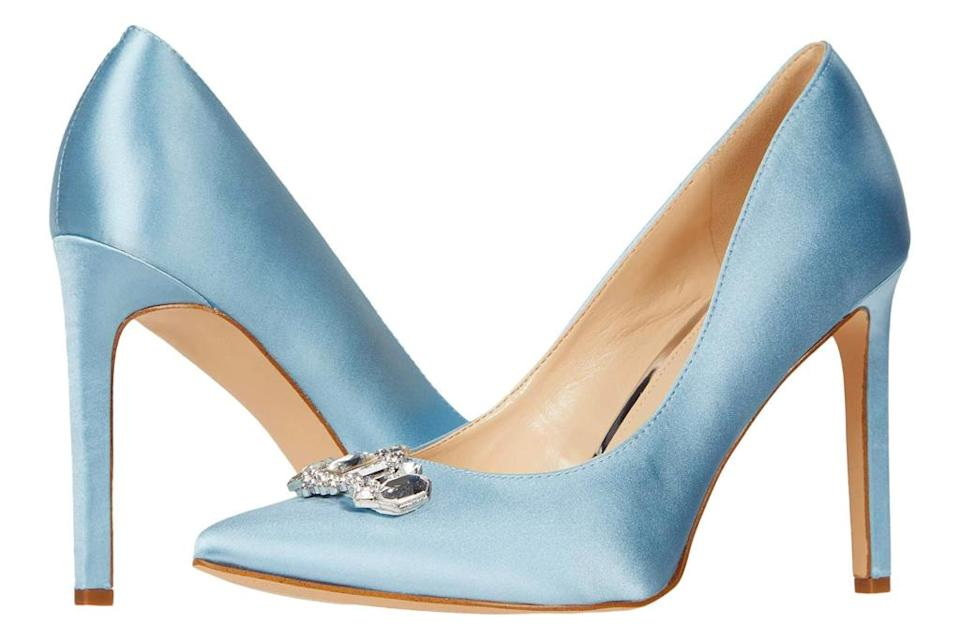 blue heels, sandals, nine west