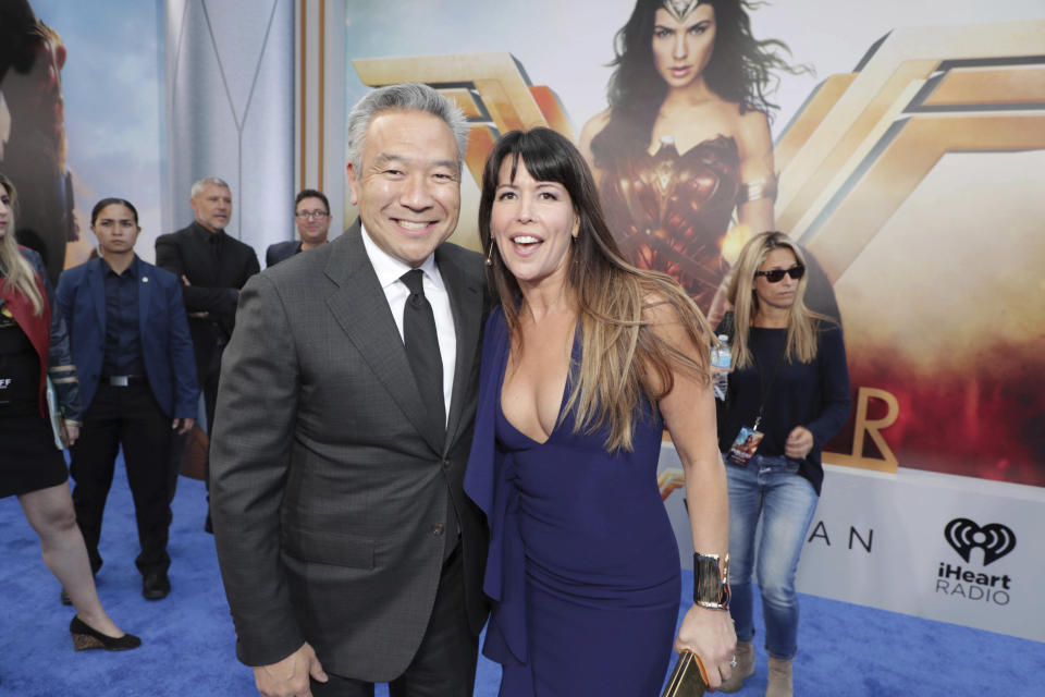 """Kevin Tsujihara, Chairman and CEO of Warner Bros., and Director Patty Jenkins seen at The World Premiere of Warner Bros. Pictures """"Wonder Woman"""" at The Pantages Theatre on Thursday, May 25, 2017, in Los Angeles. (Photo by Eric Charbonneau/Invision for Warner Bros./AP Images)"""