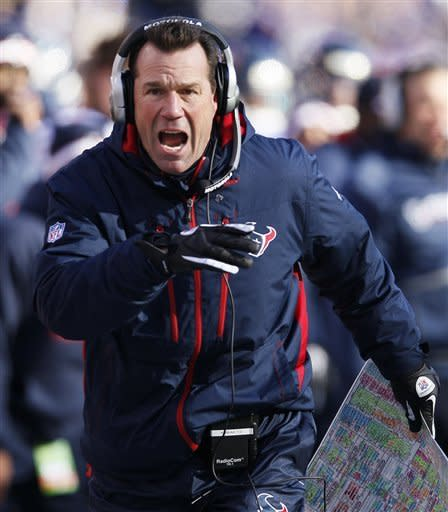Houston Texans head coach Gary Kubiak reacts to a play during the first half of an NFL divisional playoff football game against the Baltimore Ravens in Baltimore, Sunday, Jan. 15, 2012. (AP Photo/Patrick Semansky)