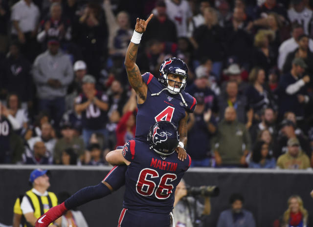 Houston Texans quarterback Deshaun Watson scored a fun touchdown on Sunday night. (AP Photo/Eric Christian Smith)
