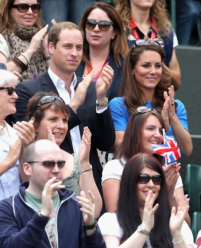 LONDON, ENGLAND - AUGUST 02: Prince William, Duke of Cambridge and Catherine, Duchess of Cambridge during the match between Andy Murray of Great Britain and Nicolas Almagro of Spain in the Quarterfinal of Men's Singles Tennis on Day 6 of the London 2012 Olympic Games at Wimbledon on August 2, 2012 in London, England. (Photo by Clive Brunskill/Getty Images)