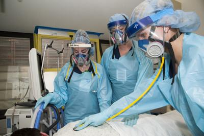 Pictured left to right: Sarah Hershey, Rachel Keto and Caitlin Carver. All three are nurses in the Medical Intensive Care Unit at Allegheny General Hospital.