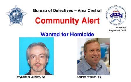 A wanted poster distributed by the Chicago Police Department shows suspects Wyndham Lathem and Andrew Warren