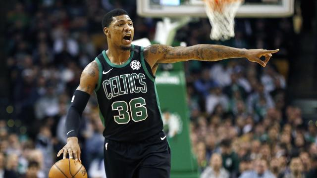 "<a class=""link rapid-noclick-resp"" href=""/nba/players/5317/"" data-ylk=""slk:Marcus Smart"">Marcus Smart</a> is in his fourth season with the Celtics. (AP)"