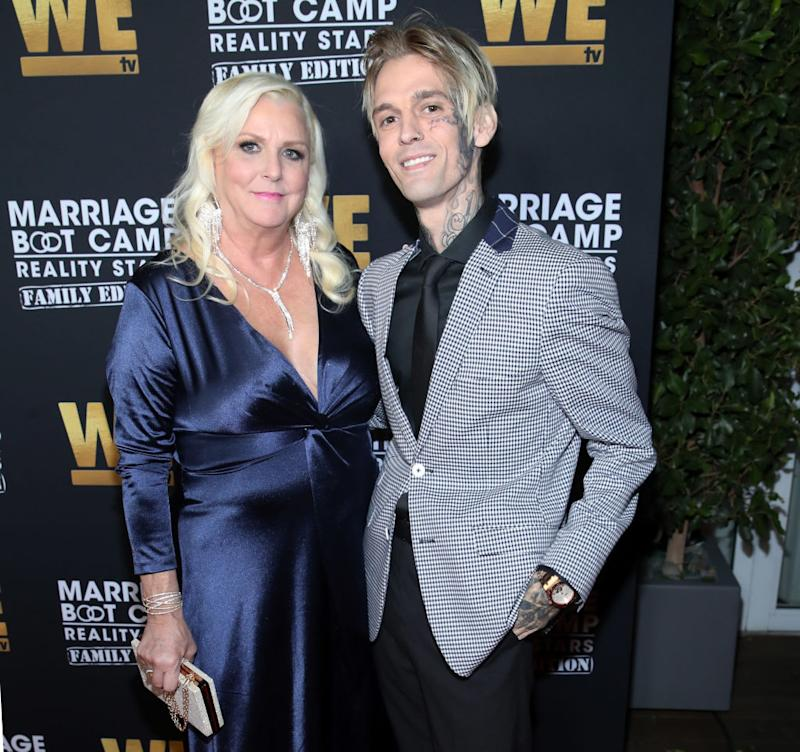 "Jane Carter and Aaron Carter attend the premiere of ""Marriage Boot Camp: Reality Stars Family Edition"" at the Mondrian on Oct. 10 in West Hollywood, California. (Photo: Randy Shropshire/Getty Images for WE tv )"