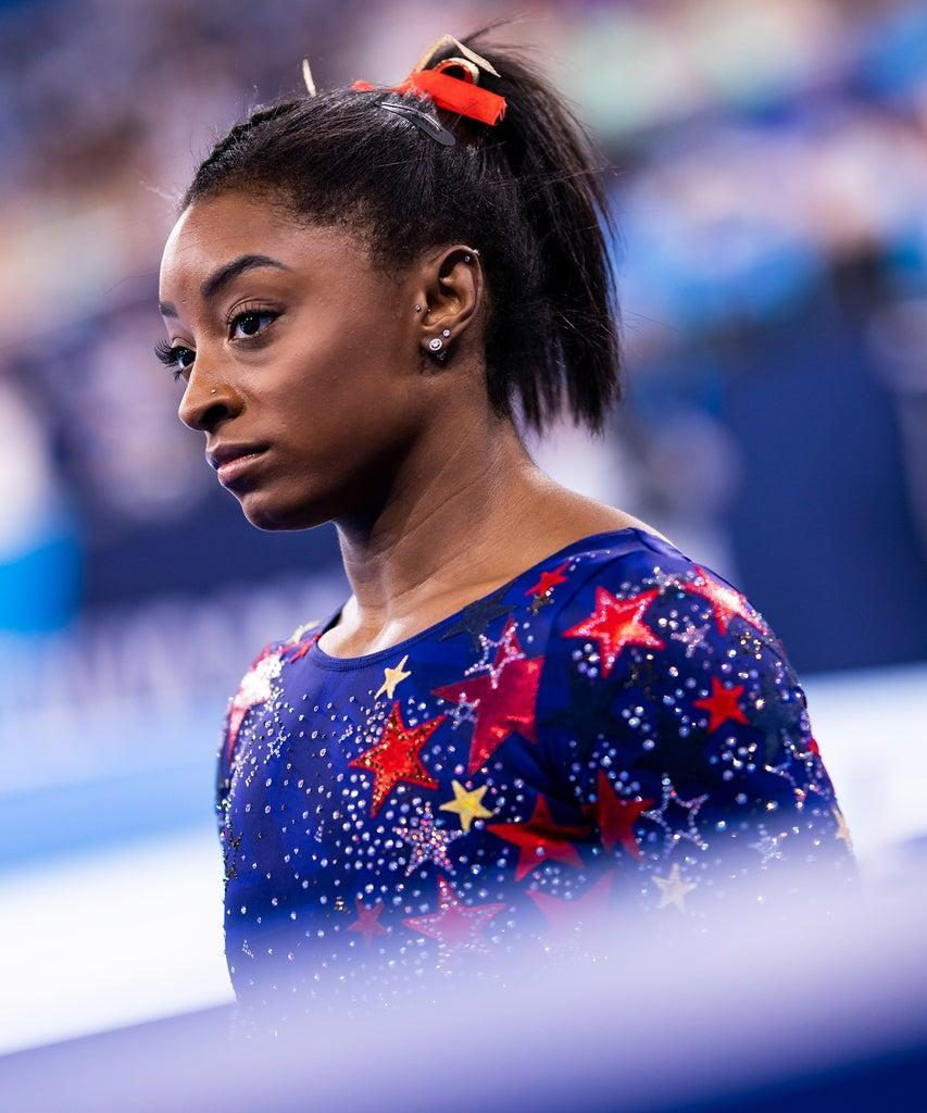 TOKYO, JAPAN – JULY 25: (BILD ZEITUNG OUT) Simone Biles , compete on day two during the qualification of the women in gymnastics at the Olympic Games at Ariake Gymnastics Centre on July 25, 2021 in Tokyo, Japan. (Photo by Tom Weller/DeFodi Images via Getty Images)