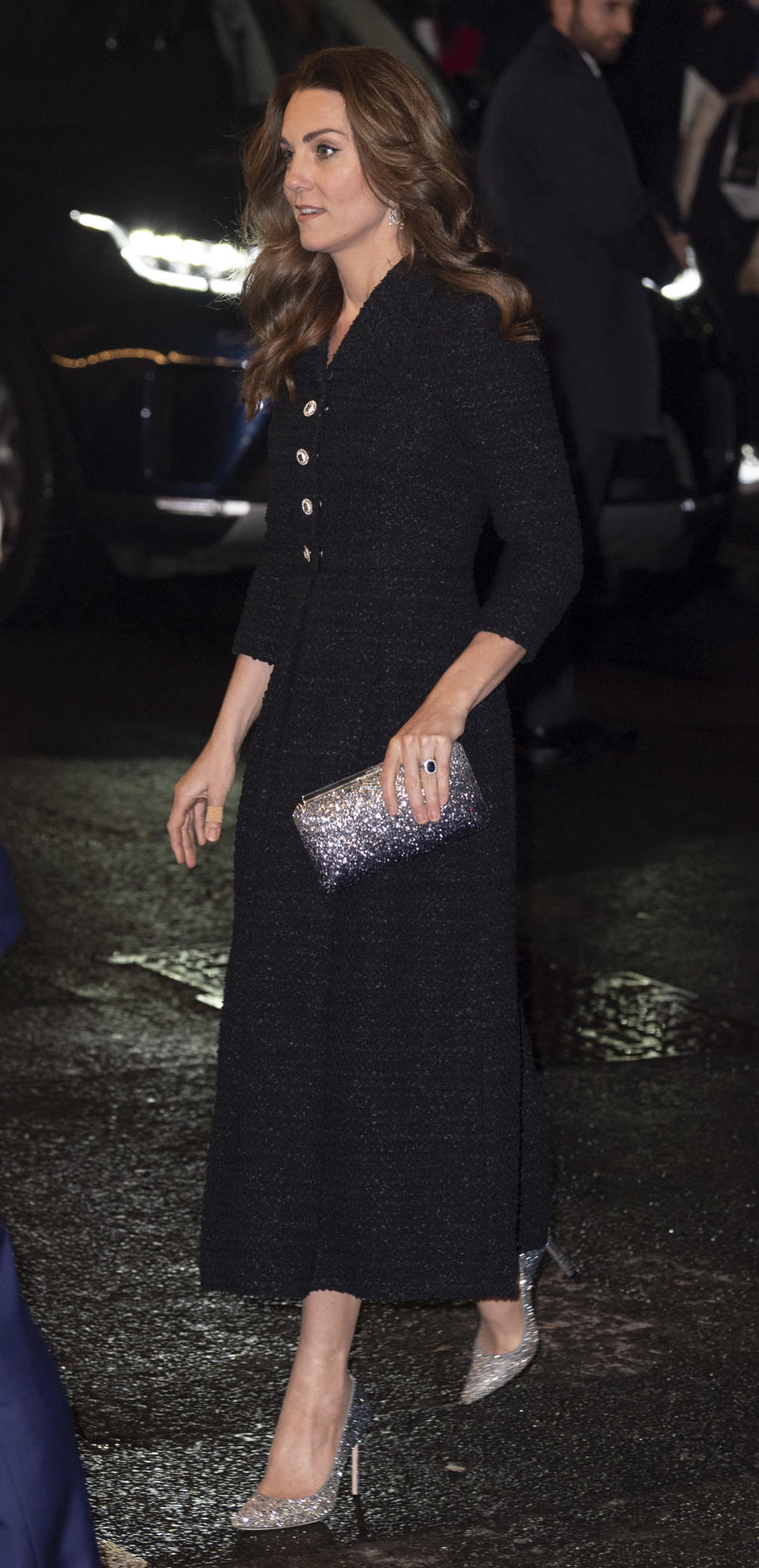 Duchess Catherine wore an Eponine dress, which she accessorised with Jimmy Choo heels and clutch bag for her outing on Tuesday night. (Getty)