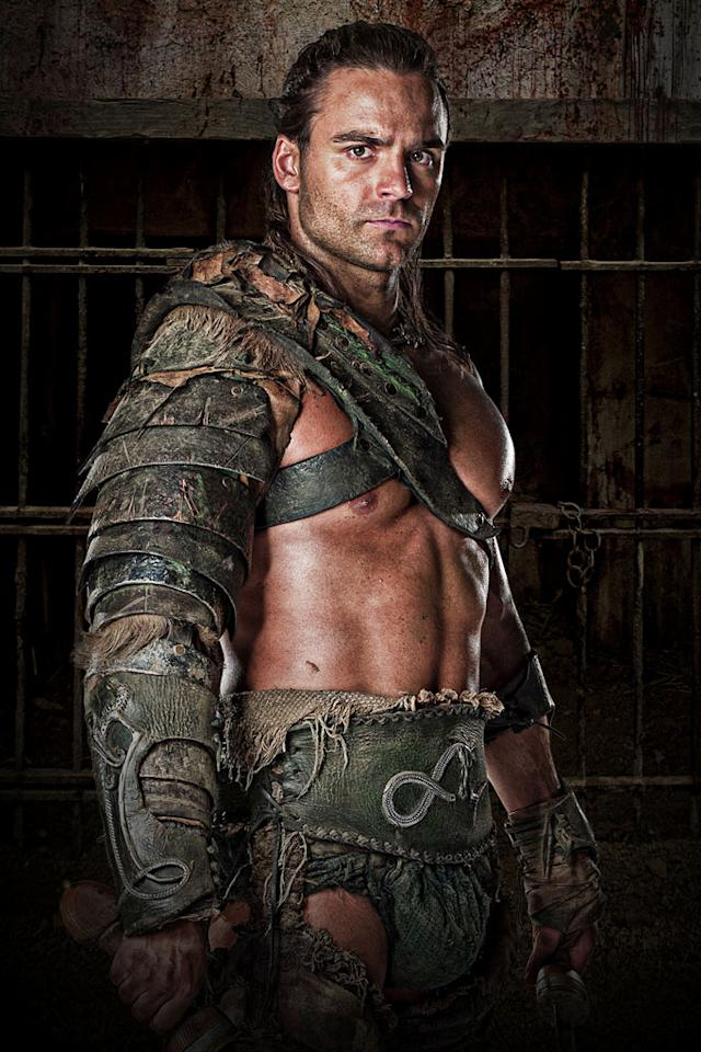 """Dustin Clare as Gannicus in """"Spartacus: Gods of the Arena."""""""