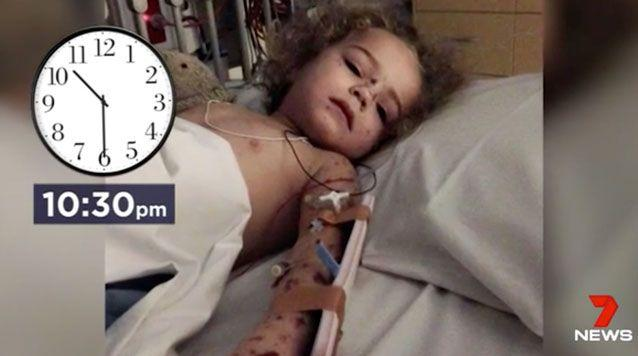 Just hours after it initially appeared the rash saw Jazzmyn fighting for her life. Source: 7 News