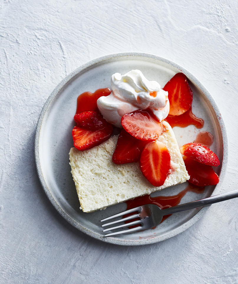 """<p>Whether you make it in a slow cooker or bake it in the oven, angel food cake gets its lift from properly beaten egg whites. Unlike heavy cream, which is best whipped when very cold in a very cold bowl, egg whites whip better at room temperature. Leave your eggs out for a couple of hours before baking or set them in a bowl and cover them with some warm water. This should warm them up in about 15 minutes. Once your angel food cake has cooled, it's best sliced with a serrated knife: those tiny teeth and a gently sawing motion will cut neatly through the cake without deflating it.<br /> <br /> <strong>Get the recipe: </strong> <a rel=""""nofollow"""" href=""""https://www.realsimple.com/food-recipes/browse-all-recipes/slow-cooker-angel-food-cake"""">Slow-Cooker Angel Food Cake</a></p> <p>This article originally appeared on <a rel=""""nofollow"""">RealSimple.com.</a> <br/><a rel=""""nofollow"""" href=""""https://www.realsimple.com/food-recipes/recipe-collections-favorites/slow-cooker-cake-recipes"""">https://www.realsimple.com/food-recipes/recipe-collections-favorites/slow-cooker-cake-recipes</a></p>"""