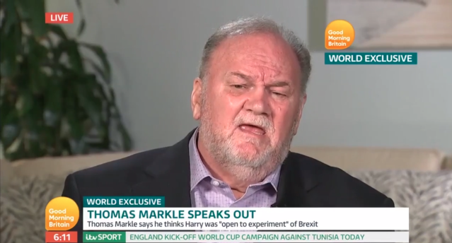 Thomas Markle has spoken out about how Prince Harry asked him if he could marry his daughter. (Photo: <i>Good Morning Britain</i>/ITV)