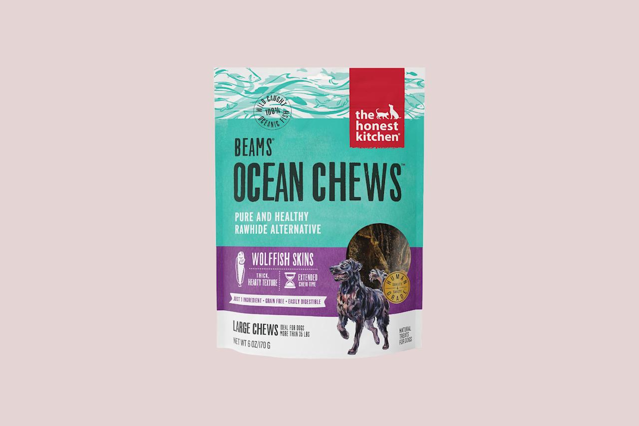 """<p>Fish sticks for dogs? Yep, these long-lasting, single-ingredient <a href=""""https://www.thehonestkitchen.com/beams"""">dehydrated fish skins</a> are a natural alternative to bully sticks that your dog will go wild for.</p> <p><strong><em>Shop Now:</em></strong><em> Beams Ocean Chews Wolffish Skins, $19, </em><a href=""""https://www.thehonestkitchen.com/beams""""><em>thehonestkitchen.com</em></a><em>.</em></p>"""